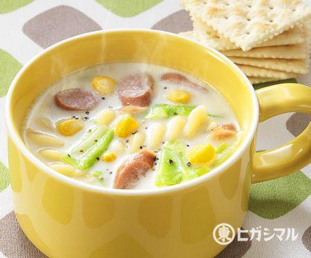 春キャベツとパスタのミルクスープ