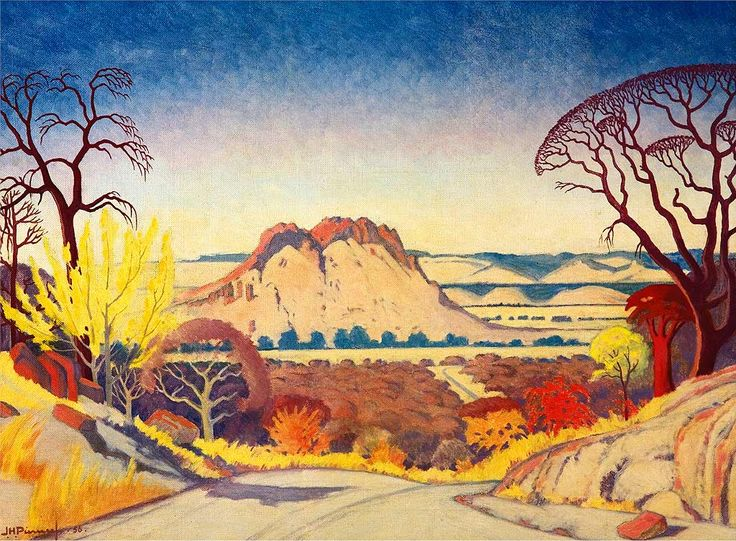 Jacobus Hendrik Pierneef (1886 –1957) was considered to be one of the best of the old South African masters. Most of his landscapes were of the South African highveld. His style was to reduce and simplify the landscape to geometric structures, using flat planes, lines and colour to present the harmony and order in nature, resulting in sweeping, uninhabited views with dramatic light and colour. Photography of paintings, artworks, museum artifacts & archival documents. www.clivehassall.com