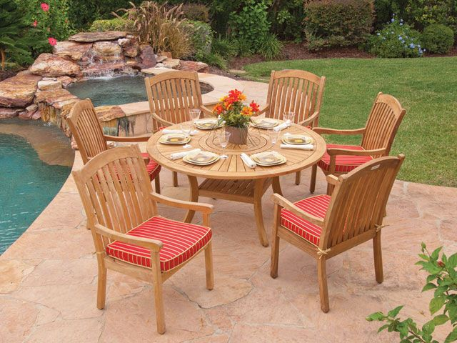 teak garden classics eastchester solid teak dining set this group gives you the warm look of wood with the weather resistant properties of teak - Garden Furniture King