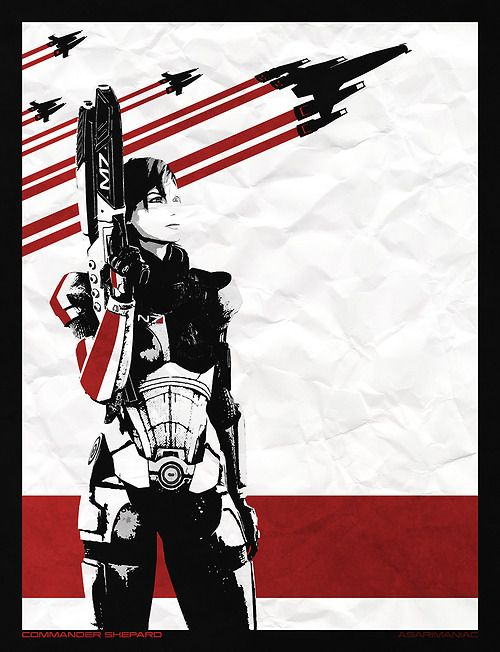 And probably the final couple of poster style images, we have our Standard Female Commander Shepard standing proud! Standard BroShep also available here: Broshep ALSO You can buy these 2 designs on a variety of different items, Posters, on pillows, on mugs, ect, available HERE ASARIMANIAC™