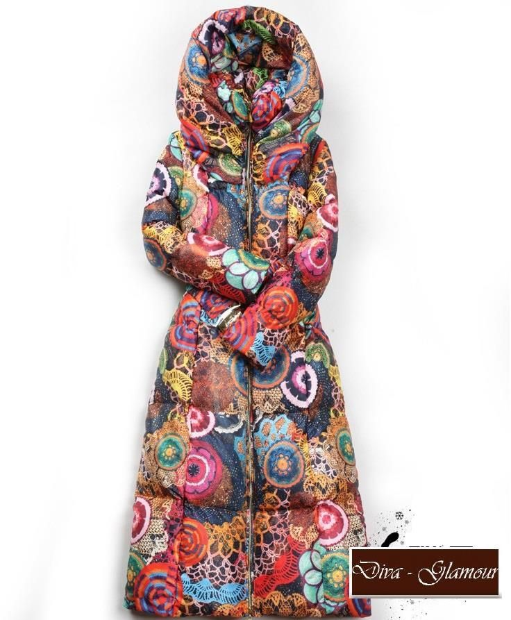 60c0c4027 Plus size Ultra long Floral Flower Printed waterproof down coat with hoodie