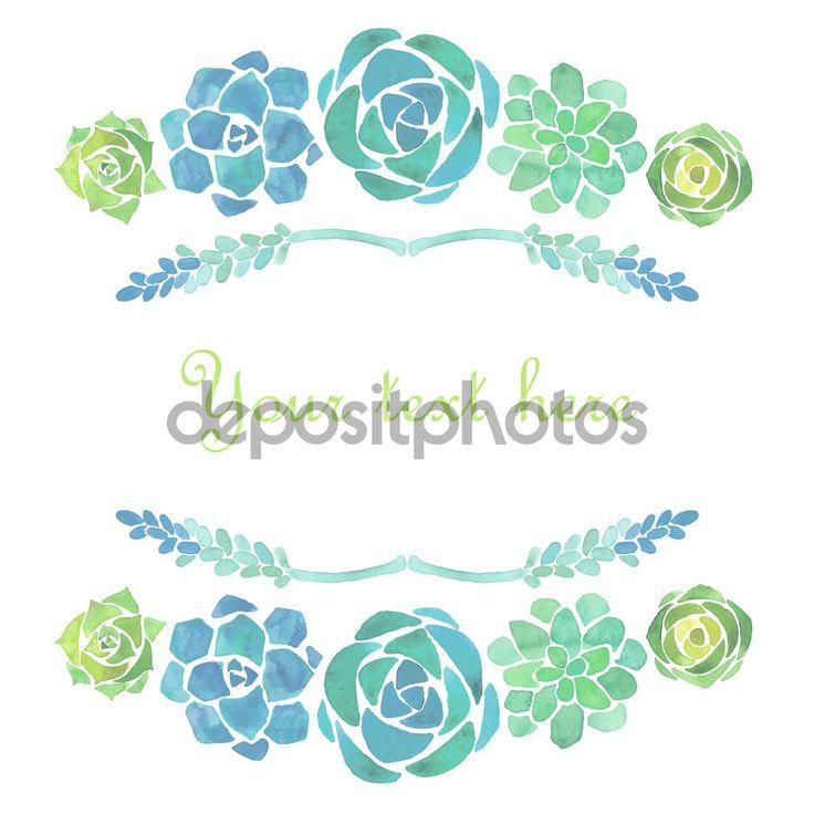 Cuadro acuarela suculentas - Ilustración de stock: 75771289
