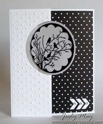 Circle Thinlits Flip Cards- Black & White i Front - Has the exended fold in flap, but without the gift card pocket. I have used some of the extra dies (chevrons and 'hi') that come with this die set for embellishment. You can't beat the classic black and white combo for a fresh looking card. I've heat embossed one of the silhouettes in black from the lovely 'Serene Silhouettes' stamp set for the front circle.