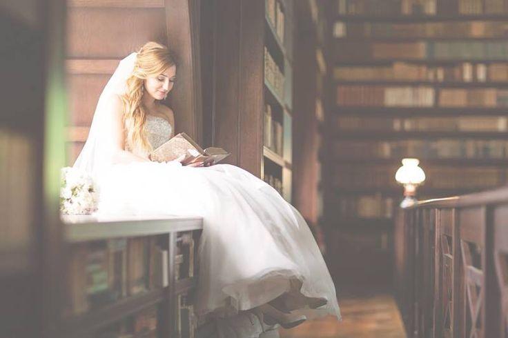Bride in library