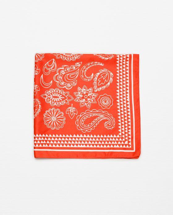 Image 1 of PAISLEY PRINT BANDANA STYLE SCARF from Zara