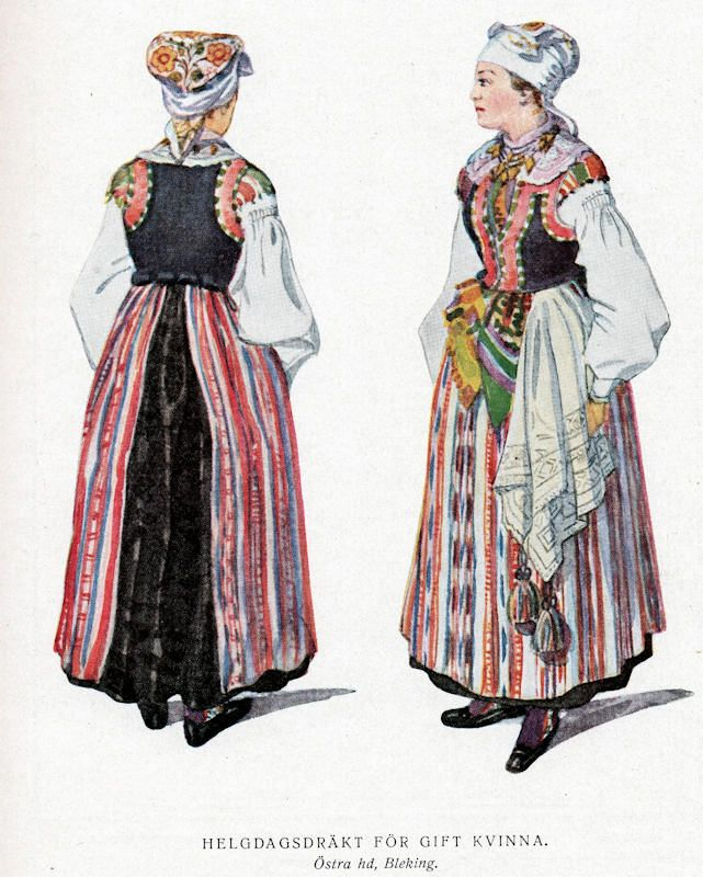 Akvarell av Emilie von Walterstorff. Kvinnan från Östra härad i Blekinge överdel eller särk, livstycke, sidensjal, kjol, förkläde och handkläde. På huvudet har hon en broderad klut.