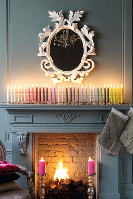 Colourful Candles Fireplaces A Line And Paint Fireplace