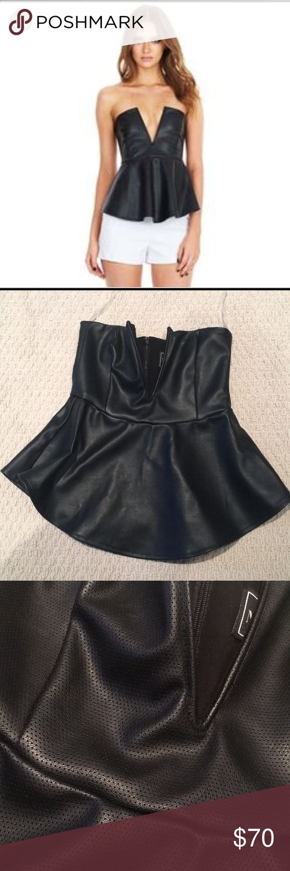 Nookie Leather Peplum Nookie Oracle V neck Peplum top faux leather. AUS size 8, Fits like a size 4/6 Nookie Tops