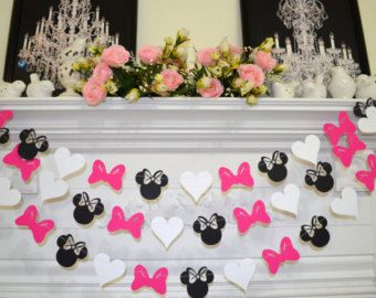 Minnie Mouse inspiré de guirlande en papier, Club-House de bannière décorations anniversaire, rose noir blanc Minnie tête de proue cœur guirlande anniversaire Minnie