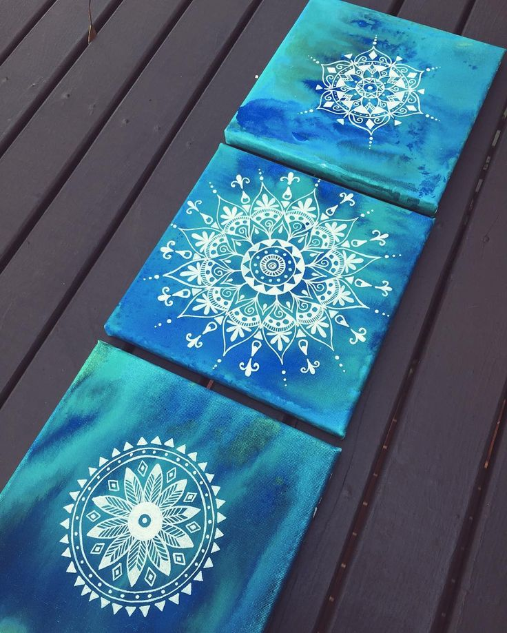 "This set of 3 small canvas are available on my Etsy shop to purchase.  ""The Ocean Mandalas"" can bring calm creativity relaxation and peace to your home. Made with a lot of love  -- Happy Easter everyone!  