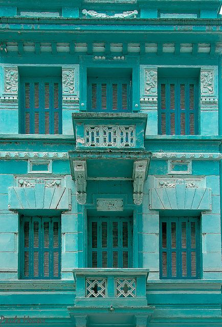 Turquoise - chasingrainbowsforever:    Facade in Blue by Paulo Heuser ~ Porto Alegre, Brasil