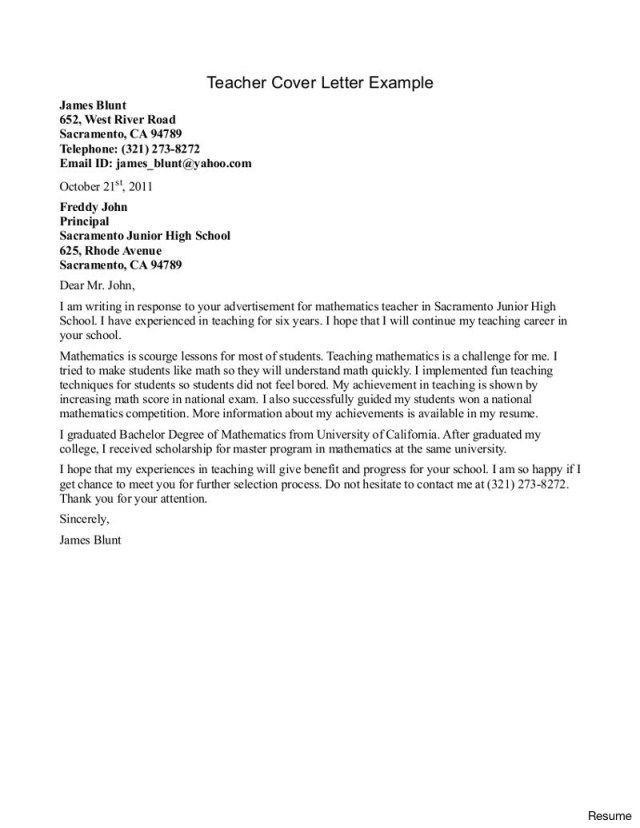 30+ Teacher Cover Letter | Cover Letter Designs | Sample resume ...