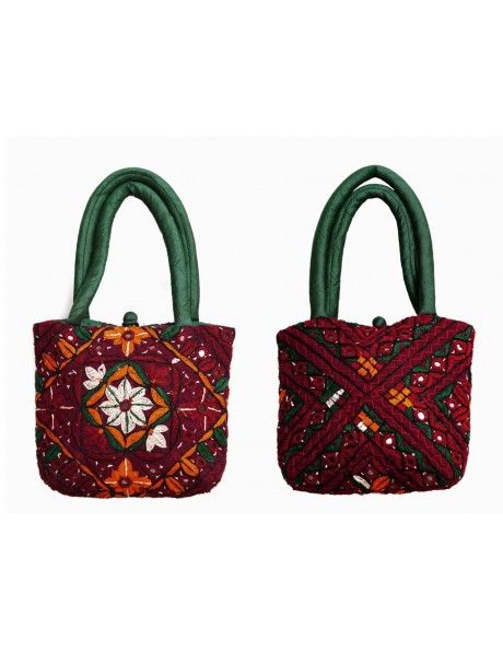 Green & Maroon Hand Bag Item code : FHD106  http://www.bharatplaza.com/ready-to-ship/home-decor/green-maroon-hand-bag-fhd106.html https://www.facebook.com/bharatplazaportal https://twitter.com/bharat_plaza
