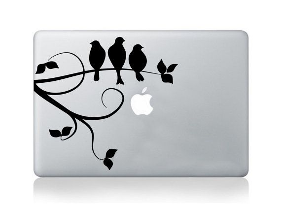 Bird flower macbook decal pro air geometrical by vinyleegraphix