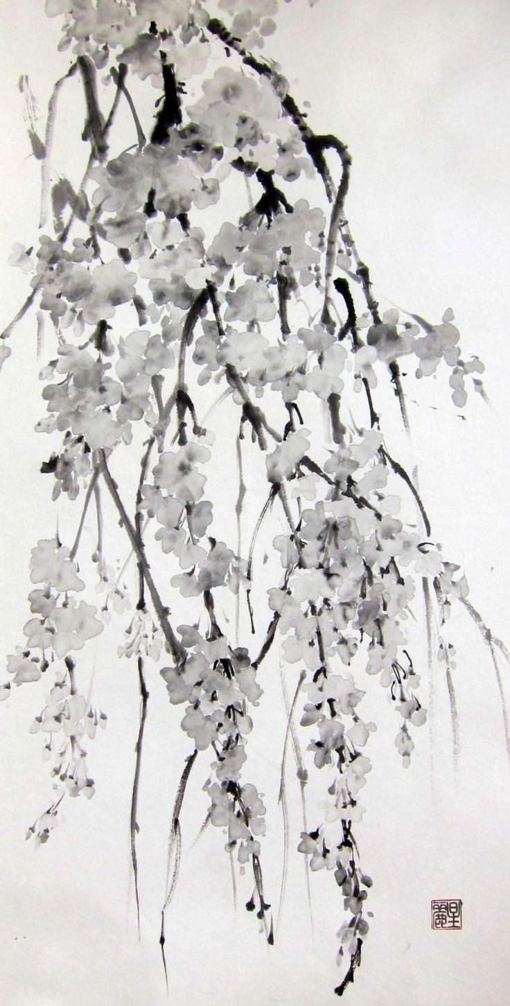Sakura Cherry Blossoms Ink painting Japanese brush by Suibokuga, on Etsy.