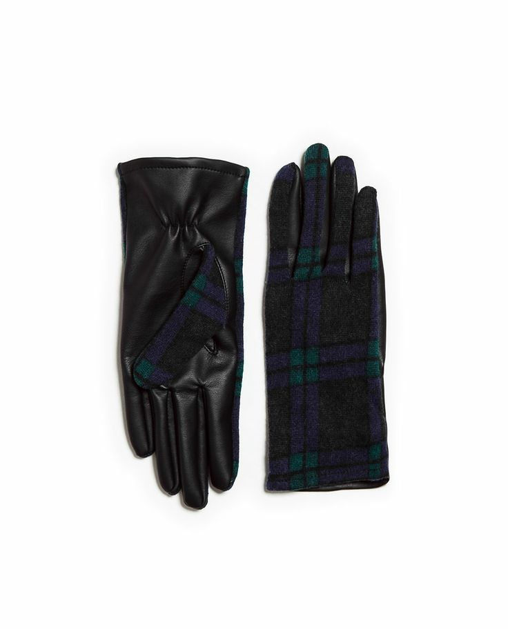 Zara | COMBINED LEATHER GLOVE Ref. 3920/211  35.90 CAD OUTER SHELL  MAIN FABRIC: 86% POLYESTER, 14% WOOL  BASE FABRIC: 100% VISCOSE  COATING: 100% POLYURETHANE