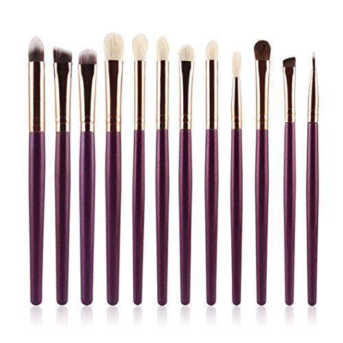 Voberry® Kit De Pinceau Maquillage Professionnel 12Pcs Eyebrow Shadow Blush Fond De Teint Anti-Cerne (Violet): Tweet Description ∮…
