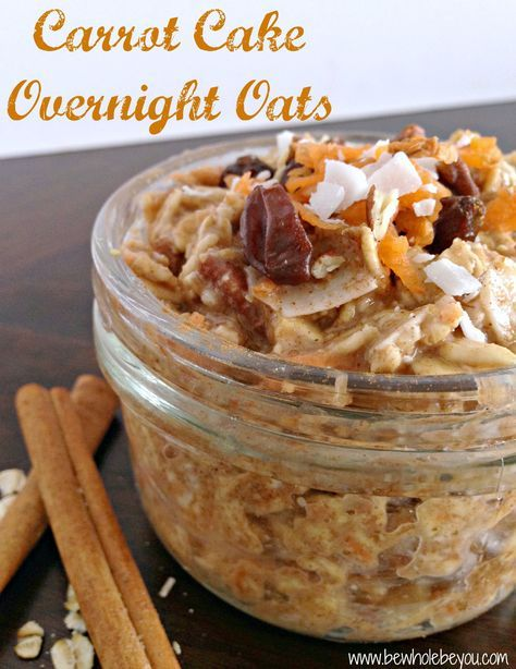 carrot cake oat overnight-1/2 large carrot, shredded 1 1/2 T coconut, shredded or flaked 1/2 cup rolled or steel cut oats, regular or gluten free 3/4 cup milk of choice 1 T chopped pecans or walnuts 1T raisins 1/2 tsp vanilla 1/2-1 tsp cinnamon Dash of sea salt 1 T ground flax 2 tsp maple  Read more at http://www.bewholebeyou.com/2015/02/21/recipe-carrot-cake-overnight-oats/#gJcoTpIIvBcUbd86.99