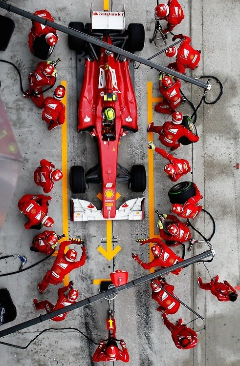 Formula One Ferrari pit crew of 20. Change 4 tires, wing adjustment in 3 seconds!