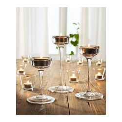 Can be used both with candles in metal cups and with tealights. Mouth blown; each candle holder is shaped by a skilled craftsman.