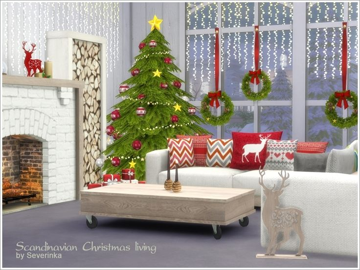 A set of furniture and decor for the living room in a Scandinavian style. Found in TSR Category 'Sims 4 Living Room Sets'