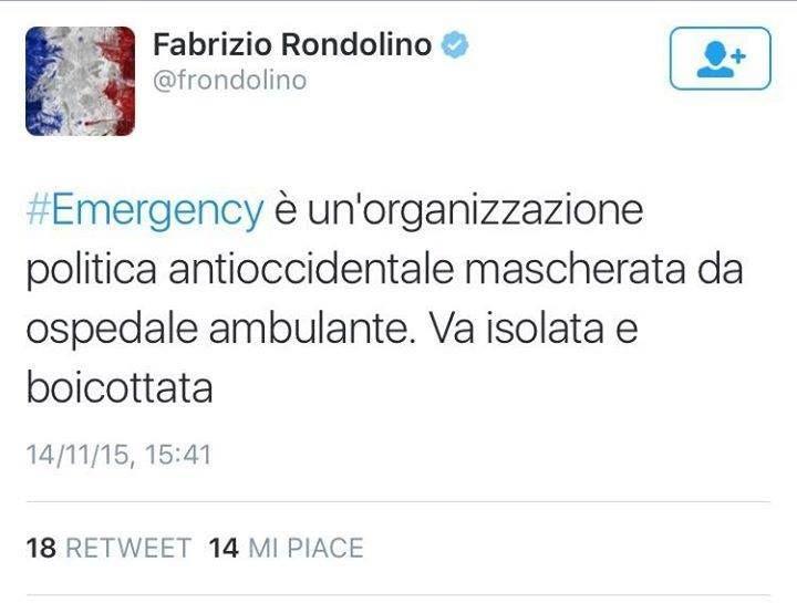 Il Tweet di Fabrizio Rondolino contro Emergency è un attacco verso tutte le No Profit che agiscono per il bene comune e senza doppi fini.