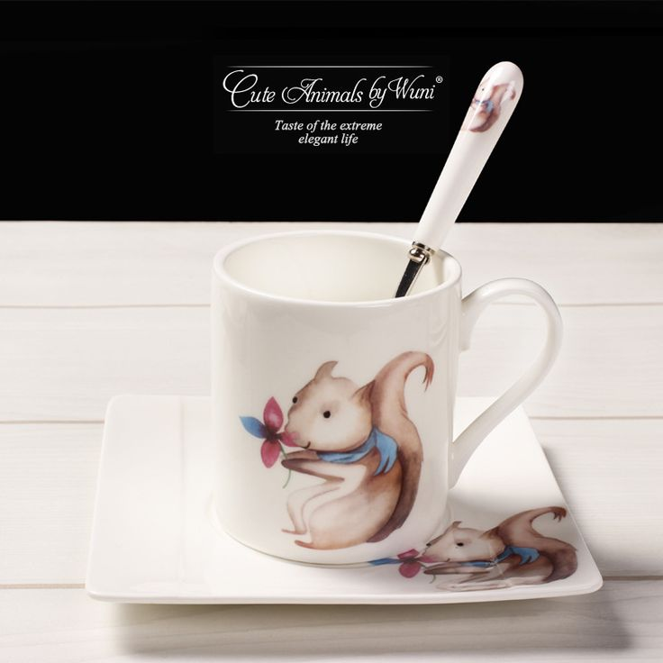 Teagas Cartoon animal creative ceramic afternoon tea bone china coffee mug dish with spoon suit - Squirrel sister #Affiliate