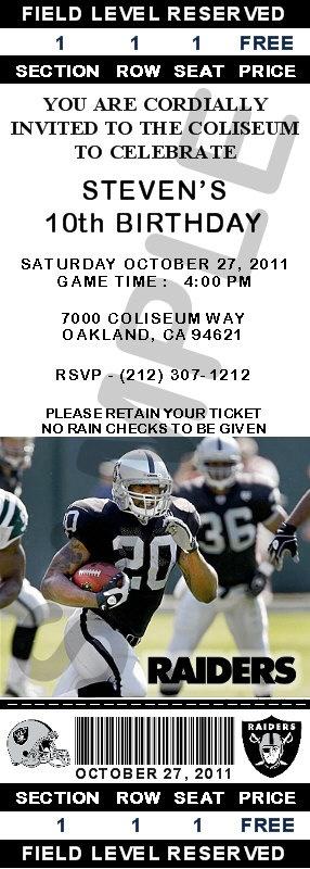 24 Oakland Raiders Birthday Ticket Invitations | eBay