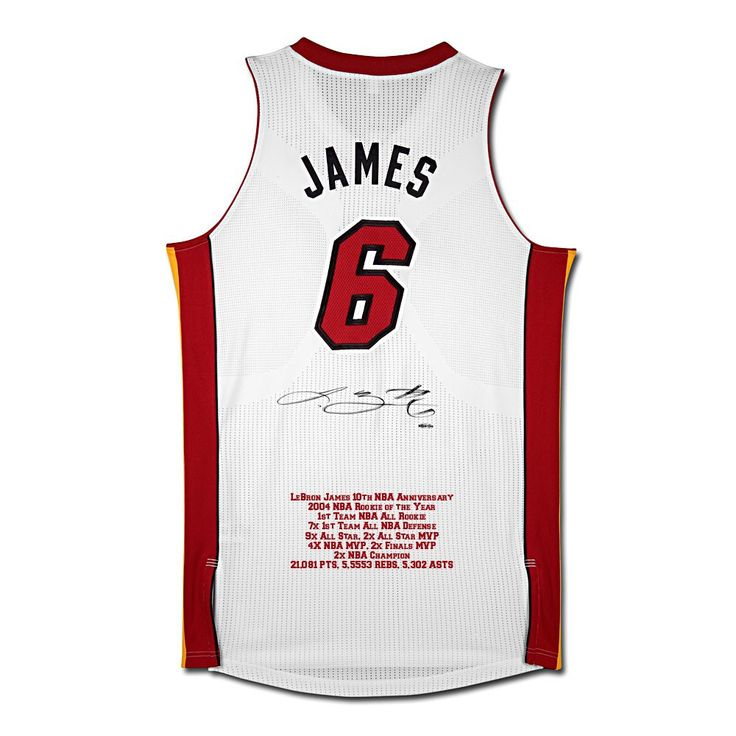 LEBRON JAMES SIGNED MIAMI HEAT 10TH ANNIVERSARY STATS JERSEY UDA LE 25 - Game Day Legends - www.gamedaylegends.com Sports Memorabilia