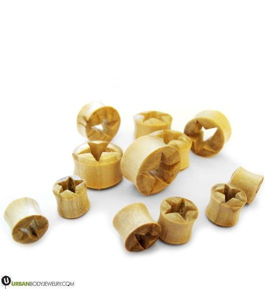 Wooden Blonde Star Tunnels | Double Flares | UrbanBodyJewelry.com