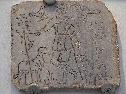 Early Christian funerary art from the Roman catacombs depicting the good shepherd 3rd-5th century CE   #TuscanyAgriturismoGiratola