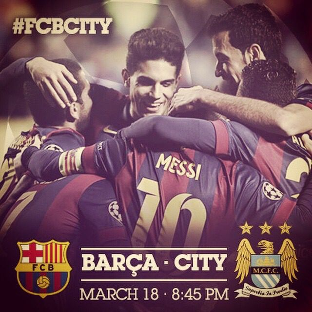 Barcelona vs Manchester City on Wednesday 3/18 @ 2:45pm central time. Big game