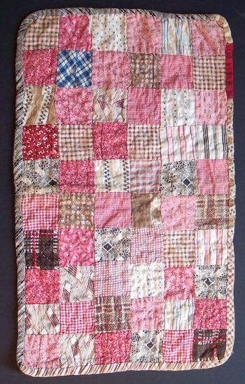 Antique Pieced Calico Feedsack Dress Print Postage Square Miniature Quilt Doll
