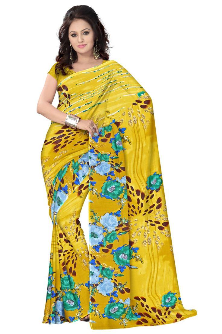 Yellow Faux Georgette Saree #casual #sarees @ http://zohraa.com/sarees/sari/casual.html #celebrity #zohraa #onlineshop #womensfashion #womenswear #bollywood #look #diva #party #shopping #online #beautiful #beauty #glam #shoppingonline #styles #stylish #model #fashionista #women #lifestyle #fashion #original #products #saynotoreplicas
