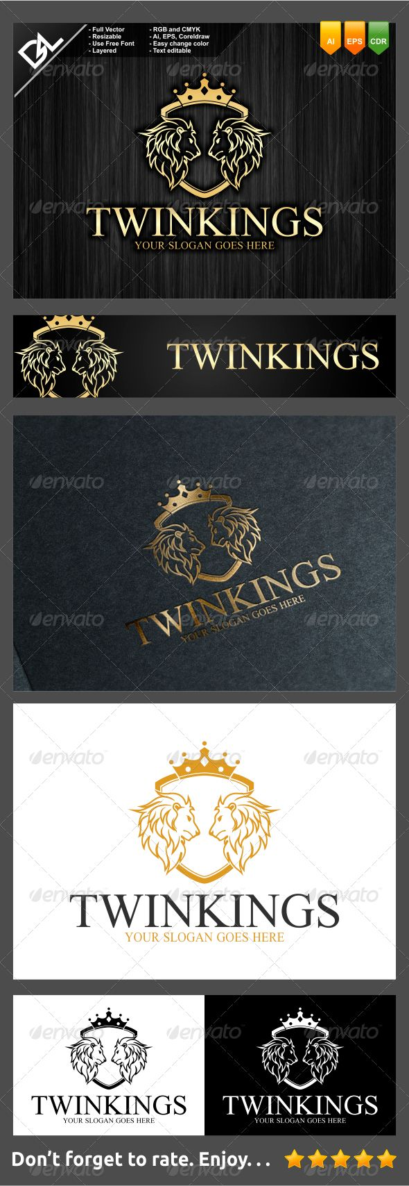Twin Kings - Crests Logo Templates