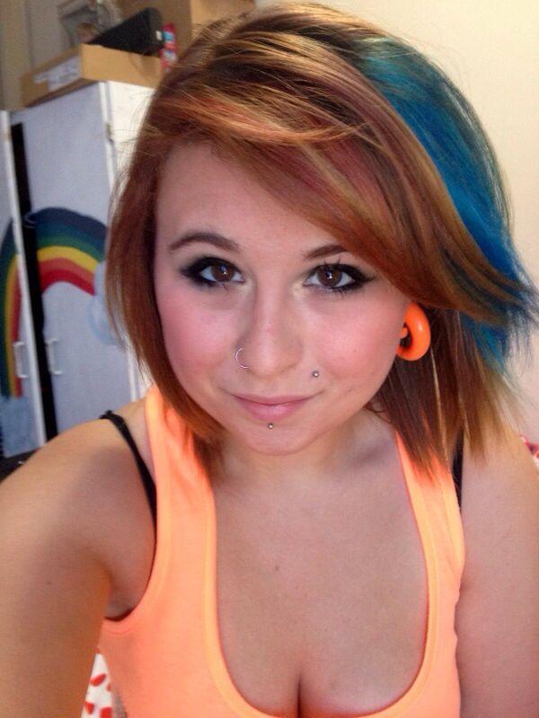Blue chunk. Copper hair.