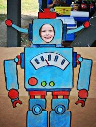 Robot party- Amy, we need to make this and let each kid take a picture in it!!