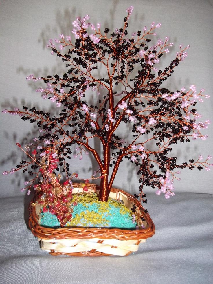 Copacel din sarma de cupru si margele de nisip