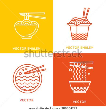 Vector chinese and asian food concepts and logo design elements - cafe and food delivery illustrations in trendy linear style - stock vector