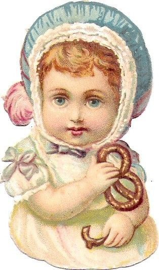 Oblaten Glanzbild scrap die cut chromo Baby Bebe Kind kid child Brezel