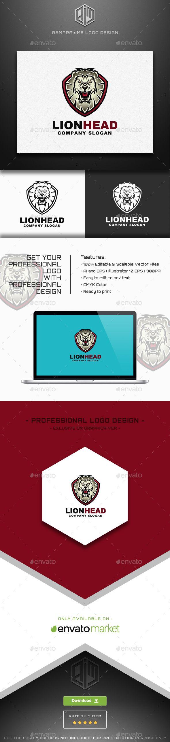 Lion Head / Lion Shield Logo - Animals Logo Templates