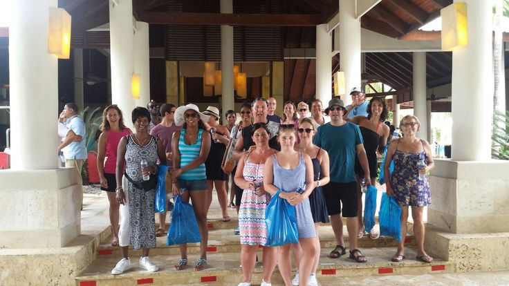 """Every Thursday, employees from Dreams Palm Beach Punta Cana and guests alike participate in """"Walk for a Good Cause."""" Our group visits a local school in Cabeza De Toro, nearby to Dreams Palm Beach Punta Cana, and bring lunch boxes to the children at the school."""