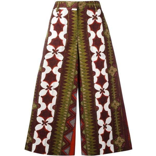 Valentino Cuban flower print palazzo pants ($1,790) ❤ liked on Polyvore featuring pants, capris, red, red pants, cropped pants, cotton palazzo pants, palazzo trousers and cropped trousers