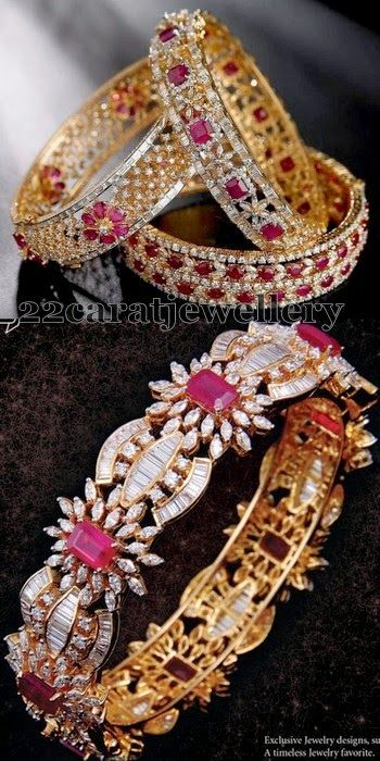 Jewellery Designs: Diamond and Cob Ruby Bangles