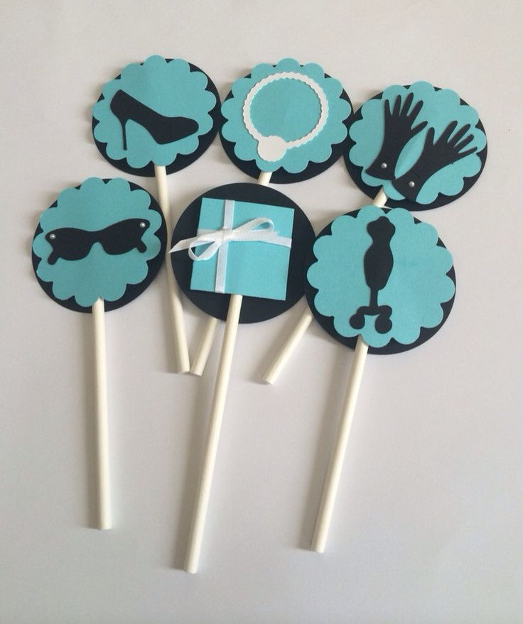 "Cupcake Toppers - Breakfast at Tiffany's - Bridal Shower - 2"" (5 cm) - Sold by the Dozen - Set of 12 - Baby Shower Topper - Tiffany Blue Audrey Hepburn Bridal Shower Invitation - Breakfast at Tiffanys invitation - Ivory and Black - Sample"