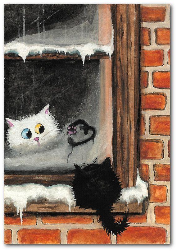 Chat errant noir persan blanc Valentine coeur ArT  par AmyLynBihrle, $8.99