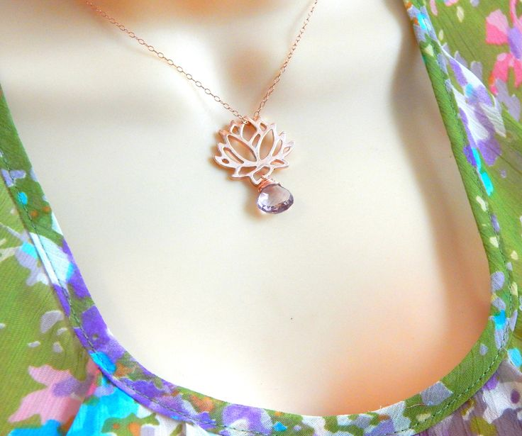 Mothers Day Sale Rose Gold Lotus Necklace,Yoga Necklace,Zen Necklace,Lotus Flower,Bridesmaid Gift,Moss Amethyst Necklace,Super 7 by Kikiburrabeads on Etsy