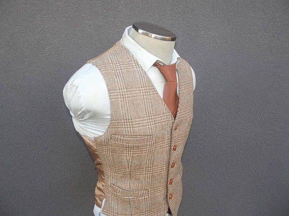 1960s Vintage Glen Plaid Tweed Waistcoat 38 Medium / Wool Tweed Vest / Vintage Wedding / Mid Century Mad Men / 60s Houndstooth Tweed Vest