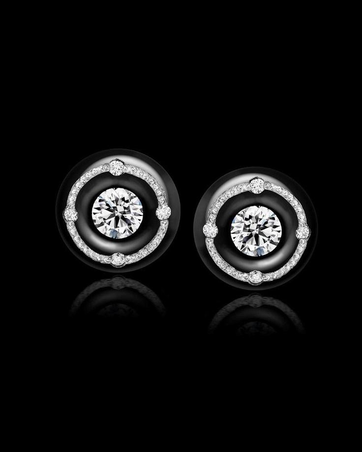 Zoltan David Diamond Earring Studs Black Stainless Steel; Platinum Inlay