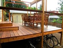 Tigerwood Deck, Under Deck Storage Deck Design Beautiful Bones & Purple Stones Landscape Design Portland, OR